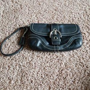 Black leather buckle Coach wristlet